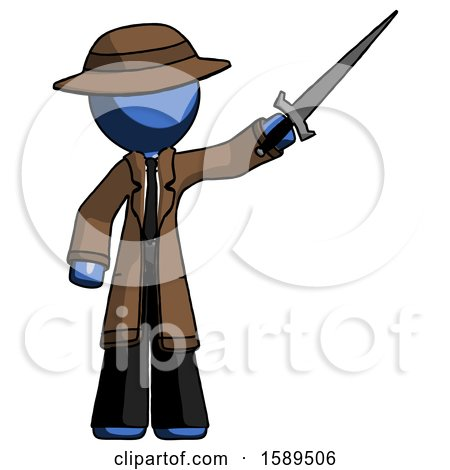 Blue Detective Man Holding Sword in the Air Victoriously by Leo Blanchette