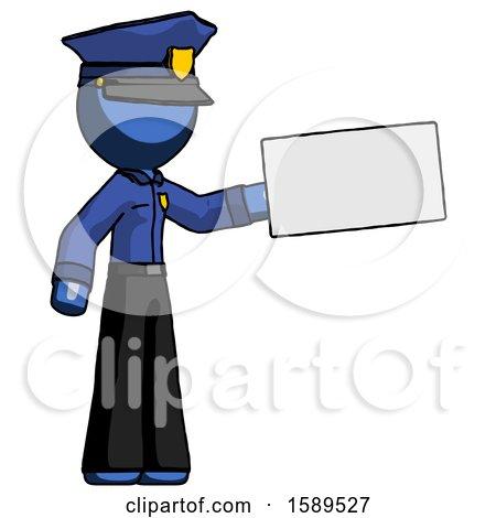 Blue Police Man Holding Large Envelope by Leo Blanchette