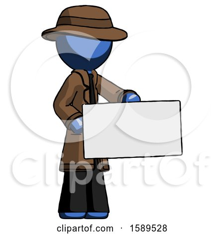 Blue Detective Man Presenting Large Envelope by Leo Blanchette
