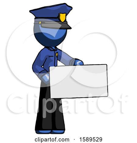 Blue Police Man Presenting Large Envelope by Leo Blanchette