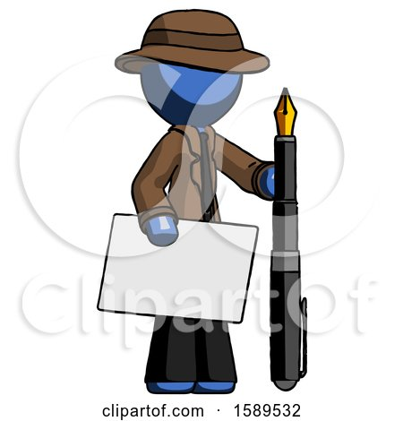 Blue Detective Man Holding Large Envelope and Calligraphy Pen by Leo Blanchette