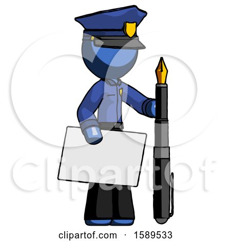 Blue Police Man Holding Large Envelope and Calligraphy Pen by Leo Blanchette