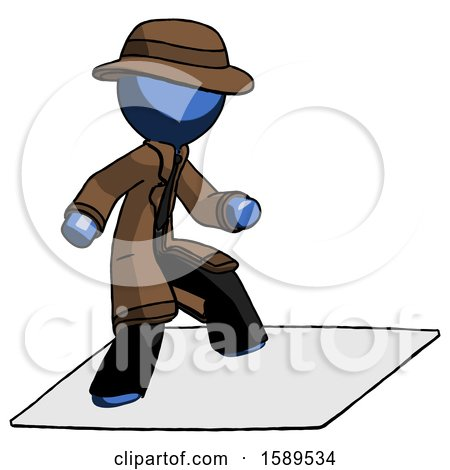 Blue Detective Man on Postage Envelope Surfing by Leo Blanchette