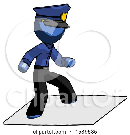 Blue Police Man on Postage Envelope Surfing by Leo Blanchette