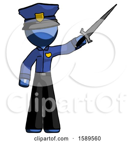 Blue Police Man Holding Sword in the Air Victoriously by Leo Blanchette