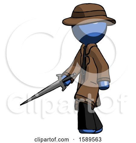 Blue Detective Man with Sword Walking Confidently by Leo Blanchette