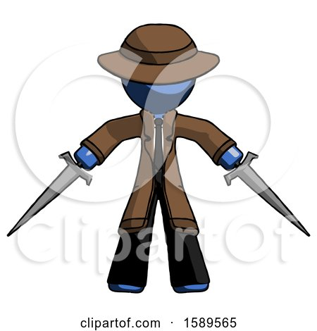 Blue Detective Man Two Sword Defense Pose by Leo Blanchette