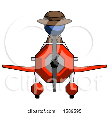 Blue Detective Man in Geebee Stunt Plane Front View by Leo Blanchette