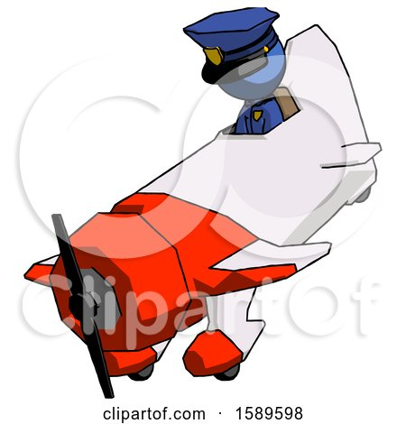 Blue Police Man in Geebee Stunt Plane Descending View by Leo Blanchette