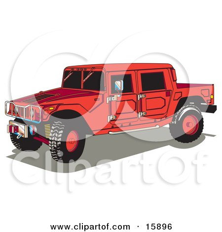 Big Red Hummer H2 Vehicle With A Truck Bed Clipart Illustration by Andy Nortnik
