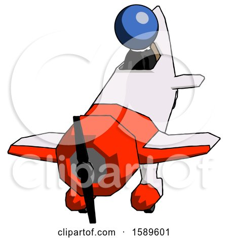 Blue Clergy Man in Geebee Stunt Plane Descending Front Angle View by Leo Blanchette