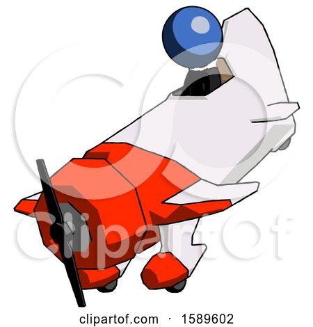 Blue Clergy Man in Geebee Stunt Plane Descending View by Leo Blanchette