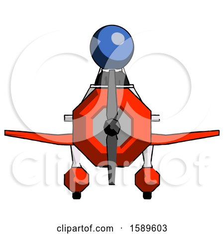 Blue Clergy Man in Geebee Stunt Plane Front View by Leo Blanchette