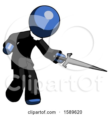 Blue Clergy Man Sword Pose Stabbing or Jabbing by Leo Blanchette