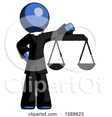 Blue Clergy Man Holding Scales of Justice by Leo Blanchette