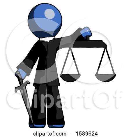 Blue Clergy Man Justice Concept with Scales and Sword, Justicia Derived by Leo Blanchette