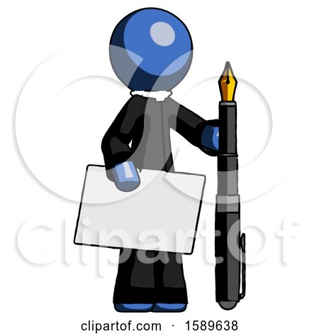 Blue Clergy Man Holding Large Envelope and Calligraphy Pen by Leo Blanchette
