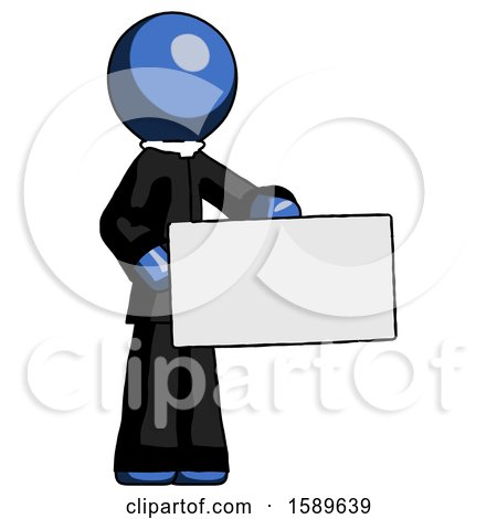 Blue Clergy Man Presenting Large Envelope by Leo Blanchette