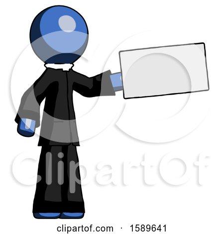 Blue Clergy Man Holding Large Envelope by Leo Blanchette