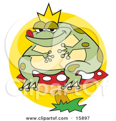 Fat Frog Prince Wearing A Crown And Sitting On A Red Mushroom With White Spots Posters, Art Prints
