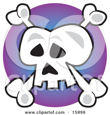Human Skull And Crossbones, Jolly Roger, Over Purple Clipart Illustration by Andy Nortnik