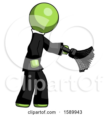 Green Clergy Man Dusting with Feather Duster Downwards by Leo Blanchette