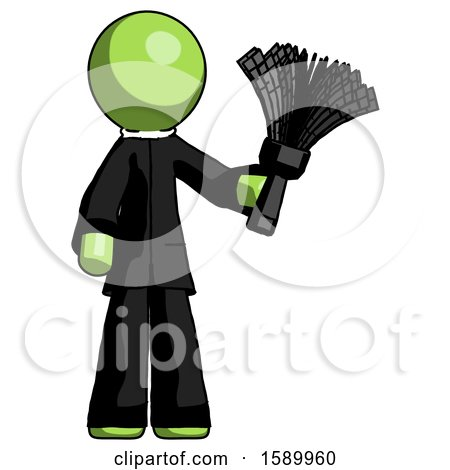 Green Clergy Man Holding Feather Duster Facing Forward by Leo Blanchette