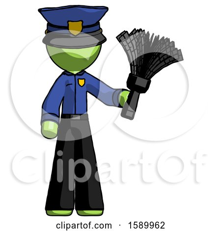 Green Police Man Holding Feather Duster Facing Forward by Leo Blanchette