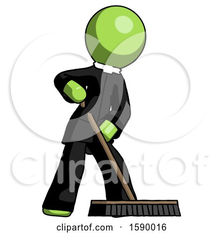Green Clergy Man Cleaning Services Janitor Sweeping Floor with Push Broom by Leo Blanchette