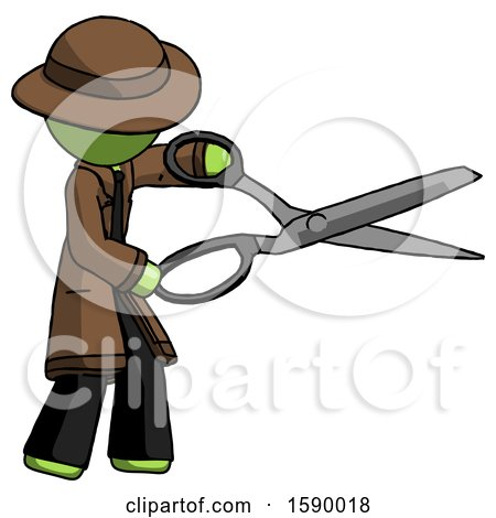 Green Detective Man Holding Giant Scissors Cutting out Something by Leo Blanchette