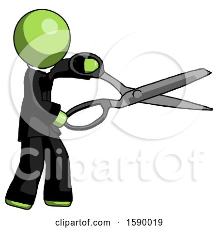 Green Clergy Man Holding Giant Scissors Cutting out Something by Leo Blanchette