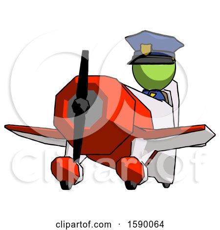 Green Police Man Flying in Geebee Stunt Plane Viewed from Below by Leo Blanchette