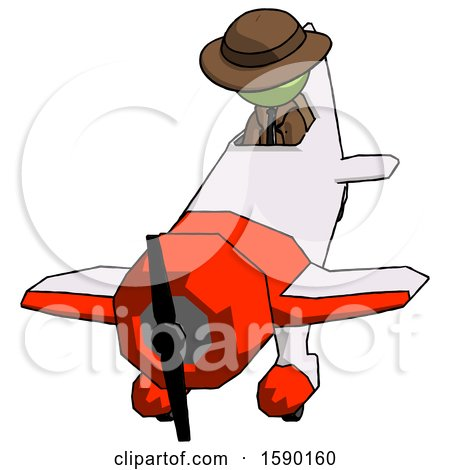 Green Detective Man in Geebee Stunt Plane Descending Front Angle View by Leo Blanchette