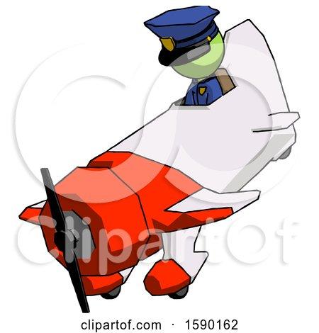 Green Police Man in Geebee Stunt Plane Descending View by Leo Blanchette