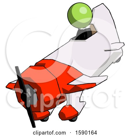 Green Clergy Man in Geebee Stunt Plane Descending View by Leo Blanchette