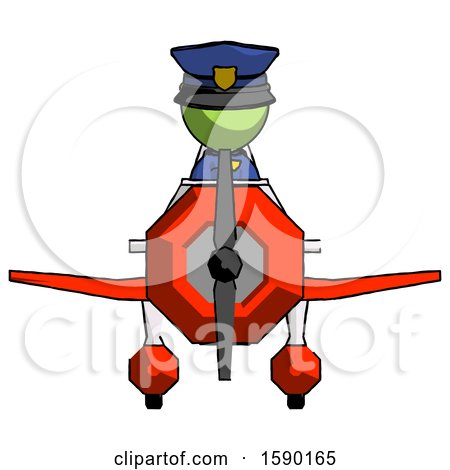 Green Police Man in Geebee Stunt Plane Front View by Leo Blanchette