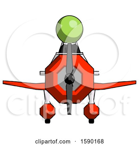 Green Clergy Man in Geebee Stunt Plane Front View by Leo Blanchette