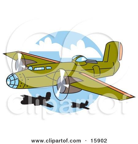 Green Bomber Plane Flying Near Other Planes Clipart Illustration
