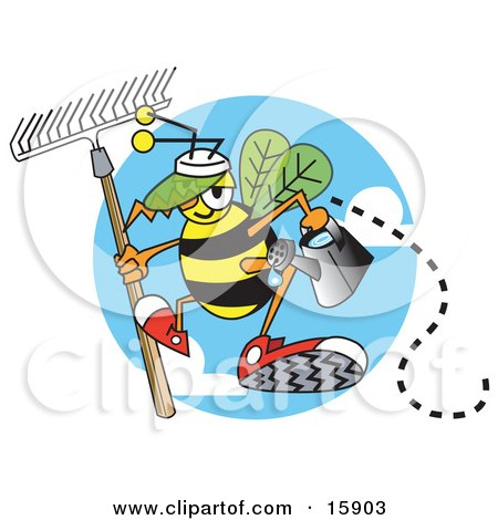 Worker Bee Carrying A Rake And Watering Can And Ready To Work In A Garden Posters, Art Prints
