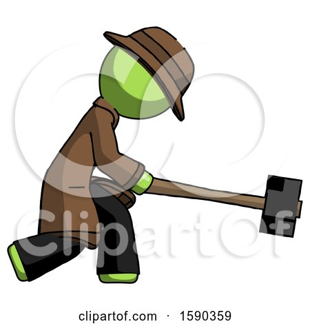 Green Detective Man Hitting with Sledgehammer, or Smashing Something by Leo Blanchette