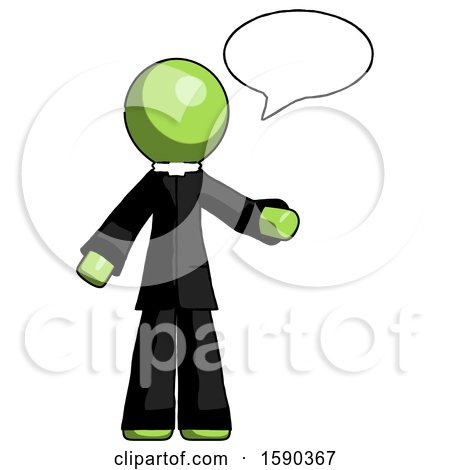 Green Clergy Man with Word Bubble Talking Chat Icon by Leo Blanchette