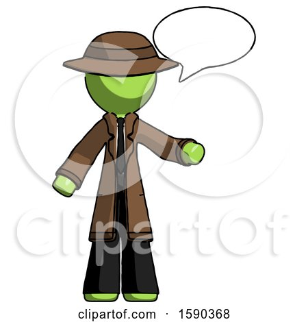 Green Detective Man with Word Bubble Talking Chat Icon by Leo Blanchette