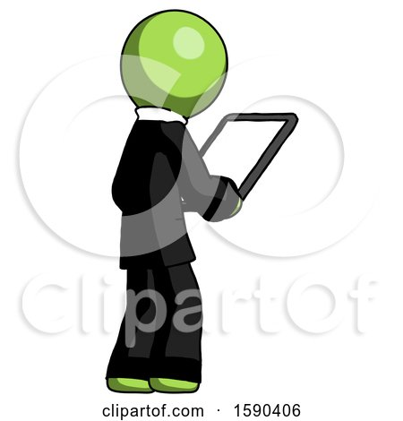 Green Clergy Man Looking at Tablet Device Computer Facing Away by Leo Blanchette