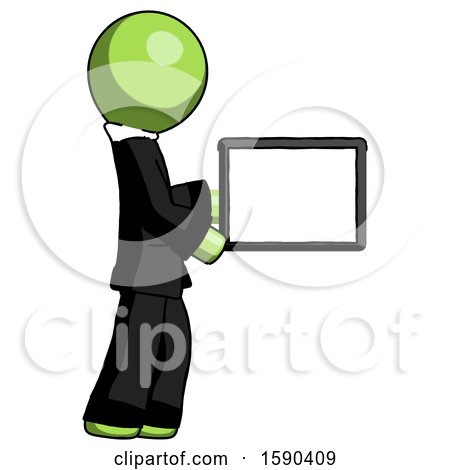 Green Clergy Man Show Tablet Device Computer to Viewer, Blank Area by Leo Blanchette