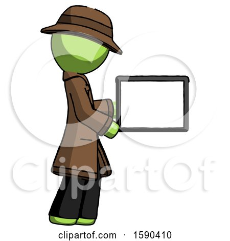Green Detective Man Show Tablet Device Computer to Viewer, Blank Area by Leo Blanchette