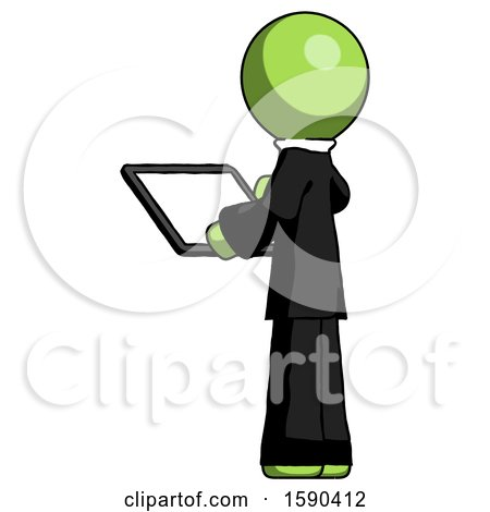 Green Clergy Man Looking at Tablet Device Computer with Back to Viewer by Leo Blanchette