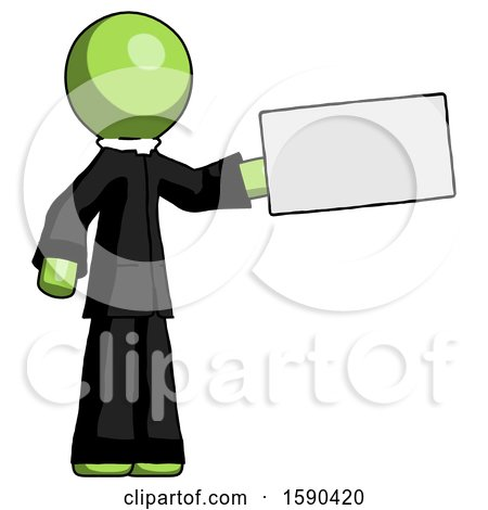 Green Clergy Man Holding Large Envelope by Leo Blanchette