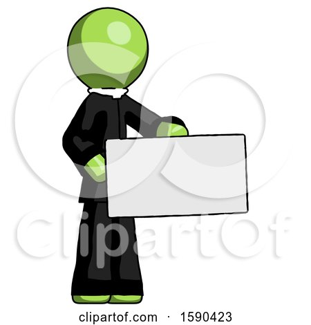 Green Clergy Man Presenting Large Envelope by Leo Blanchette