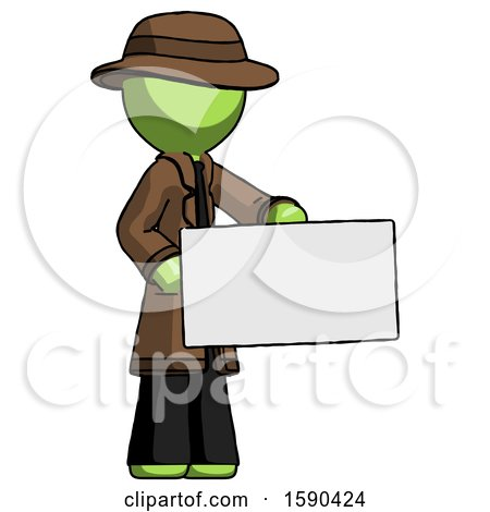 Green Detective Man Presenting Large Envelope by Leo Blanchette