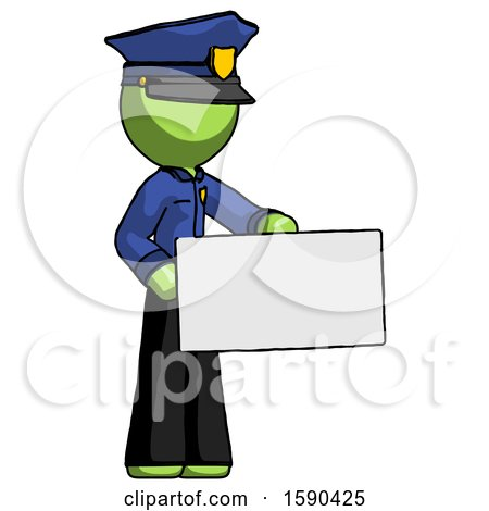 Green Police Man Presenting Large Envelope by Leo Blanchette
